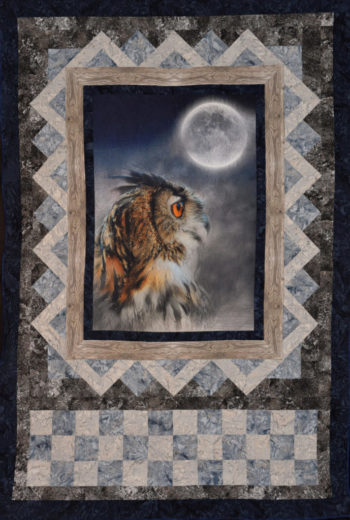 "2021 Birding Quilt, ""Owl de Lune,"" was designed and quilted by SMRA Board Member Jean Sparacin. Click image for larger view."