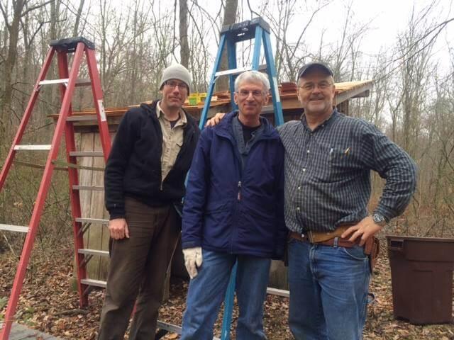 Audubon staff and volunteers repairing Pruyn bird blind roof. (L to R) Sanctuary Worker Danny Ferguson, SMRA Board Member Phil Heidelberger, Pruyn Sanctuary Lead Maintainer David Watson. Photo: SMRA/Nick Fischer